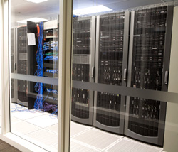 Network room with custom rackmount servers